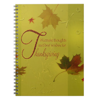 Thanksgiving Wishes Typography Leaves - Notebook