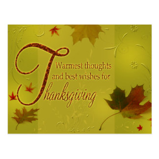 Thanksgiving Wishes Typography Leaves - Postcard