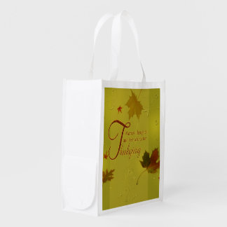 Thanksgiving Wishes Typography Leaves Reusable Bag