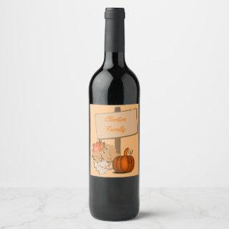 Thanksgiving Wood Sign Pumpkin Custom Wine Label