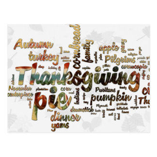 Thanksgiving Word Cloud Postcard
