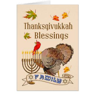 Thanksgivukkah Blessings Card - Turkey & Menorah
