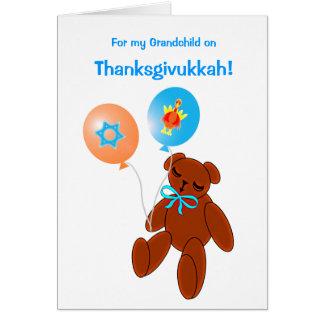Thanksgivukkah Teddy Bear Baby Greeting Card