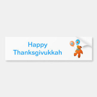 Thanksgivukkah Teddy Bear with Balloons Bumper Sticker