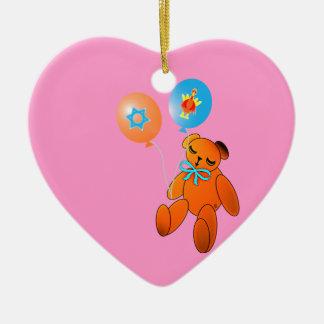 Thanksgivukkah Teddy Bear with Balloons Ceramic Heart Decoration