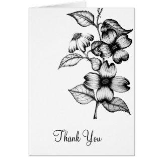ThankYou blank flower drawing card