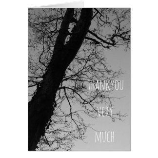thankyou very much monochrome tree card