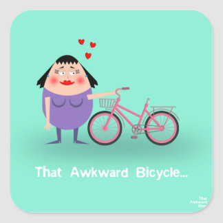 That Awkward Bicycle Square Sticker
