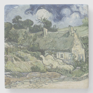 Thatched Cottages Cordeville by Vincent Van Gogh Stone Coaster