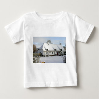 Thatched English Cottage in Snow Baby T-Shirt