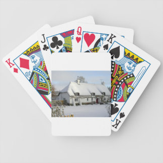 Thatched English Cottage in Snow Bicycle Playing Cards