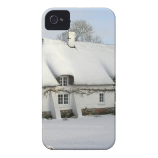 Thatched English Cottage in Snow Case-Mate iPhone 4 Cases