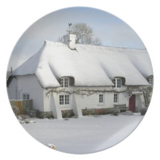 Thatched English Cottage in Snow Plate