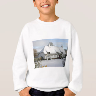 Thatched English Cottage in Snow Sweatshirt