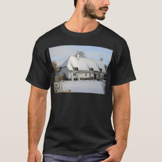 Thatched English Cottage in Snow T-Shirt