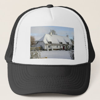 Thatched English Cottage in Snow Trucker Hat