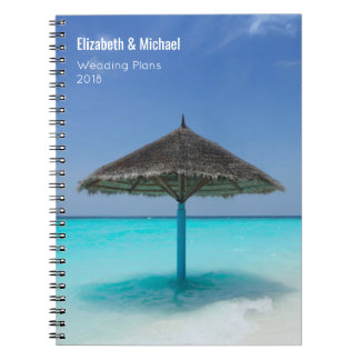 Thatched Umbrella on Tropical Beach Wedding Plans Notebook