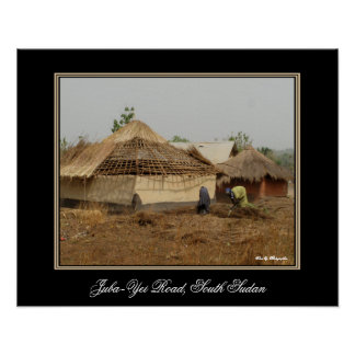 Thatching a Roof in South Sudan Print