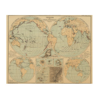 Thatigkeit des Erdinnern Atlas Map Wood Print