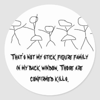 That's not my stick figure family... round sticker