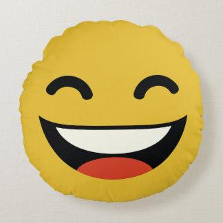that's one happy dude emoji round cushion