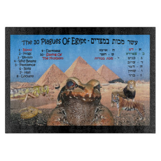 The 10 Plagues Of Egypt - Hebrew & English Cutting Board