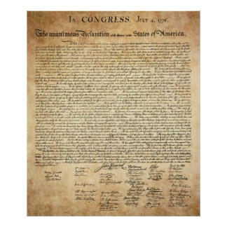 THE 13 STATES DECLARATION of INDEPENDENCE Print