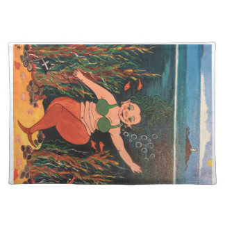 The 2nd in my collection of comical mermaids placemat