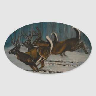 The 3 Deers Oval Sticker