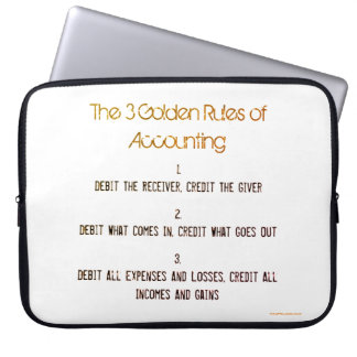 """""""The 3 Golden Rules of Accounting"""" Laptop Sleeve"""