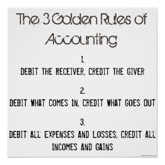 """The 3 Golden Rules of Accounting"" Poster"