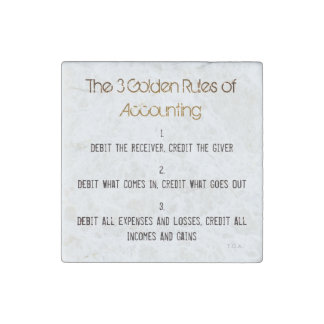 """The 3 Golden Rules of Accounting"" Stone Magnet"