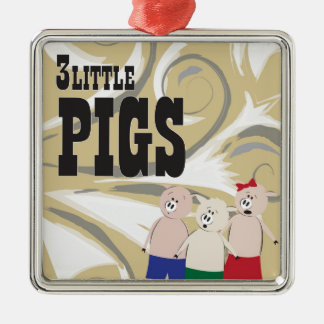 The 3 Little Pigs Silver-Colored Square Decoration