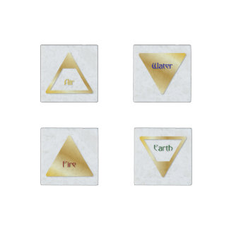 The 4 Elements Symbols - Air, Fire, Water, & Earth Stone Magnet