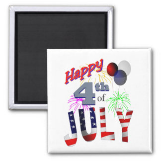 The 4th of July, Day of Independence Square Magnet