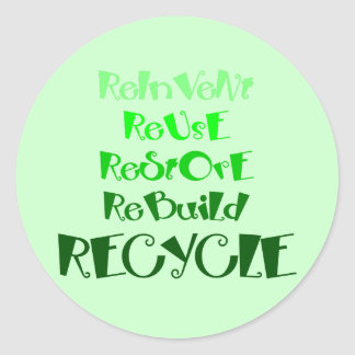 The 5 R s of Recycling Round Sticker