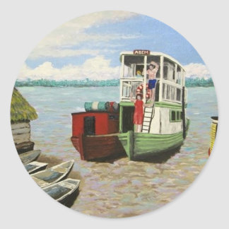 The ABEM Heading Out On The Peruvian Amazon Round Sticker
