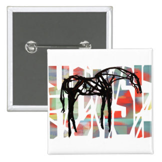 The Abstract Horse 15 Cm Square Badge