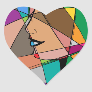 The Abstract Woman by Stanley Mathis Heart Sticker