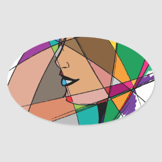The Abstract Woman by Stanley Mathis Oval Sticker