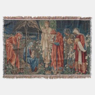 The Adoration of the Magi by Edward Burne-Jones Throw Blanket