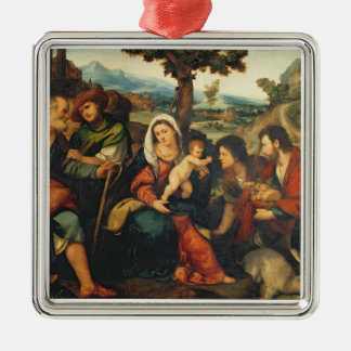 The Adoration of the Shepherds 3 Silver-Colored Square Decoration