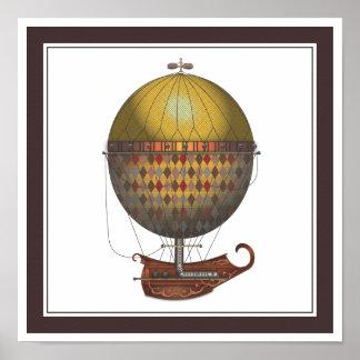 The Airship Nautisme Steampunk Flying Machine Poster