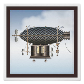 The Airship Petite Noir Steampunk Flying Machine Poster