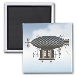The Airship Petite Noir Steampunk Flying Machine Square Magnet