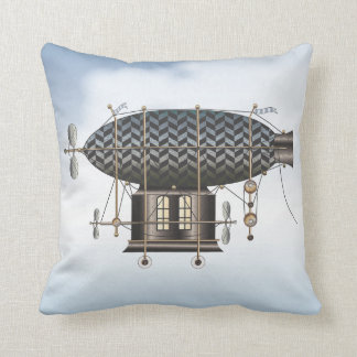 The Airship Petite Noir Steampunk Flying Machine Throw Pillow