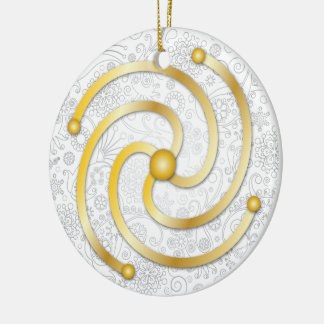 The Akasha Spiral in Gold & Silver Line Drawings Round Ceramic Decoration