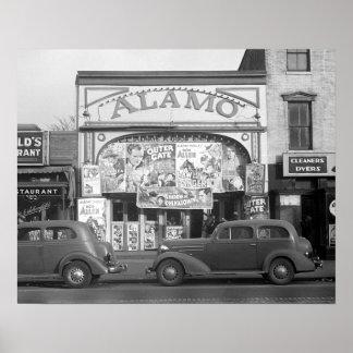 The Alamo Movie Theater, 1937. Vintage Photo Poster