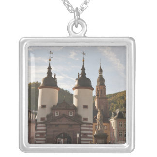 The Alte Brucke in Old Town, Heidelberg, Germany Square Pendant Necklace