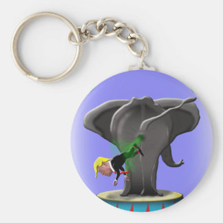the amazing trumping elephant basic round button key ring